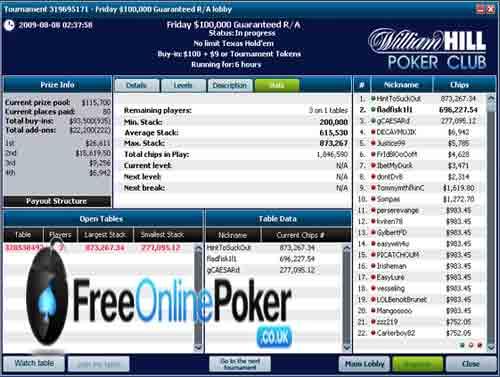 William Hill Poker screen