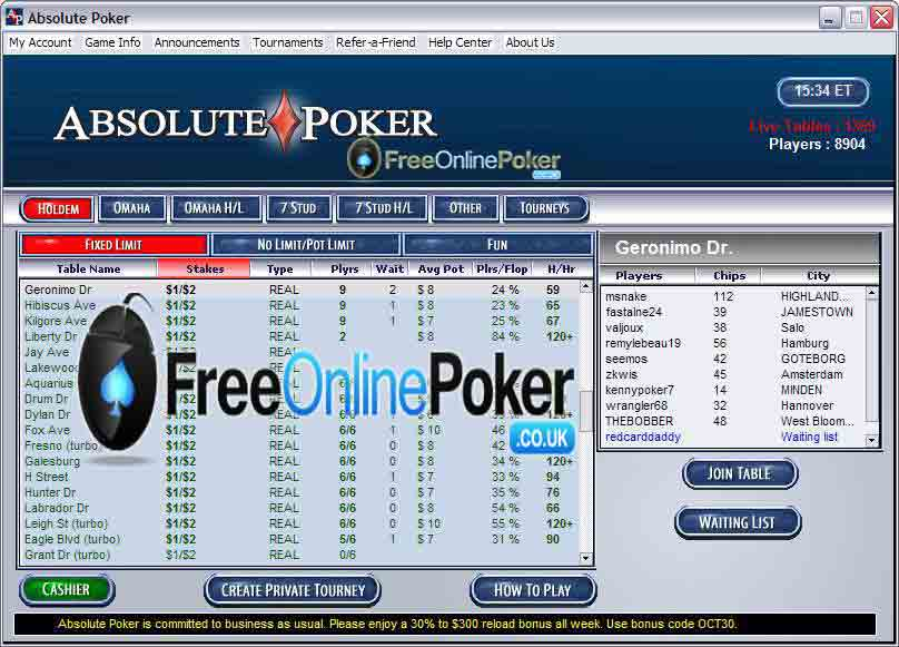 Absolute poker screen